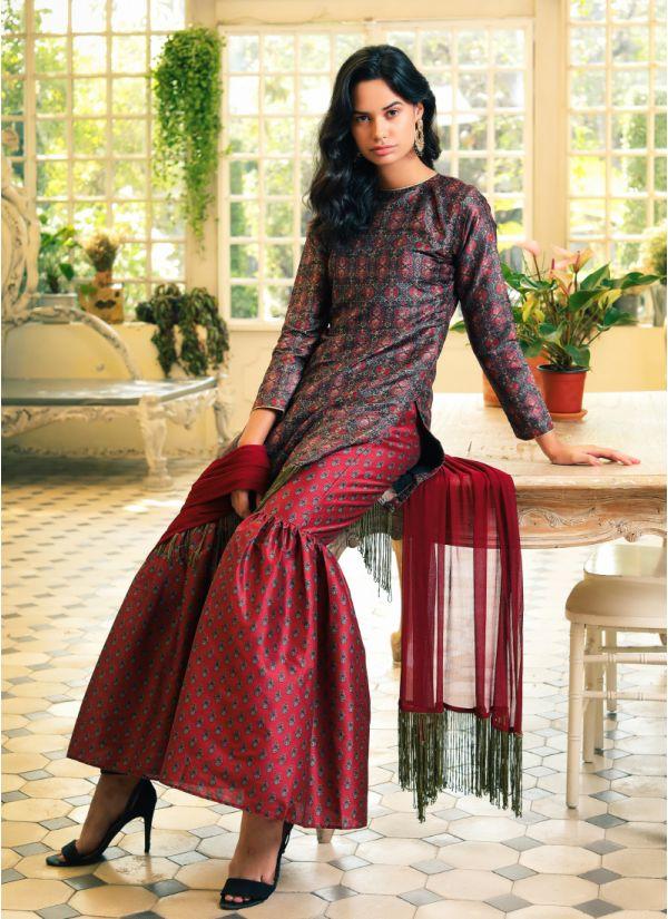 Print On Print Fringe Gharara Suit