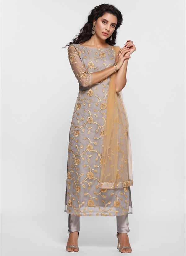Finely Detailed Embroidered Straight Suit