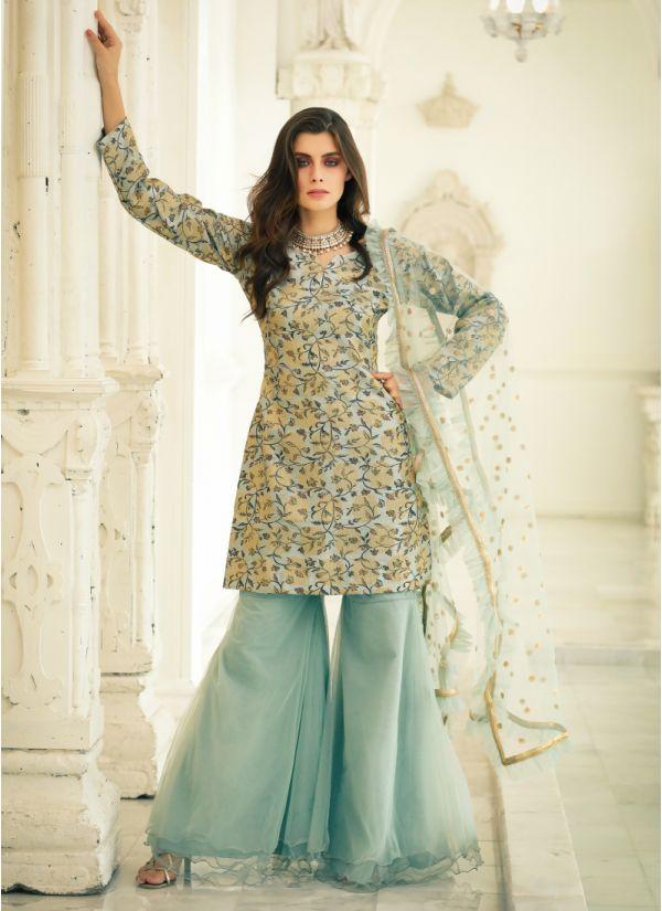 Modish Print Jacquard Gharara Suit