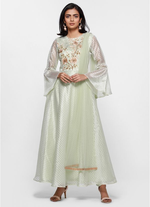 4a3f0e21e05 Pastel Embroidered Bodice Check Flow Dress ...
