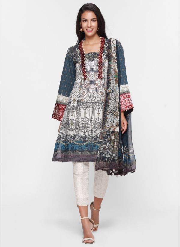 Contrast Embroidery Detail Print Lawn Suit