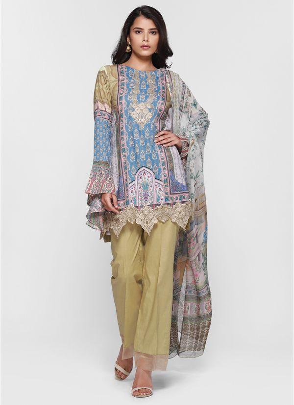 Contrast Lace Embellished Print Lawn Suit