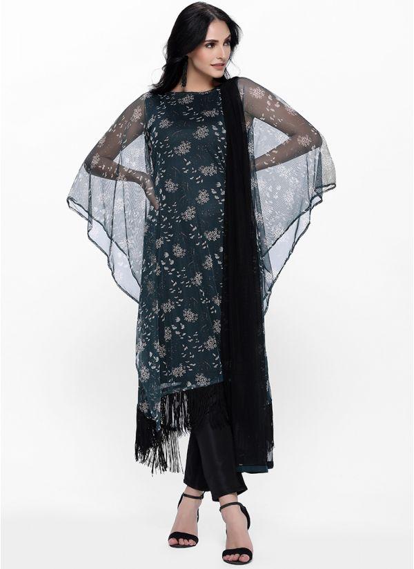 Floral Printed Net Kaftan Suit Set