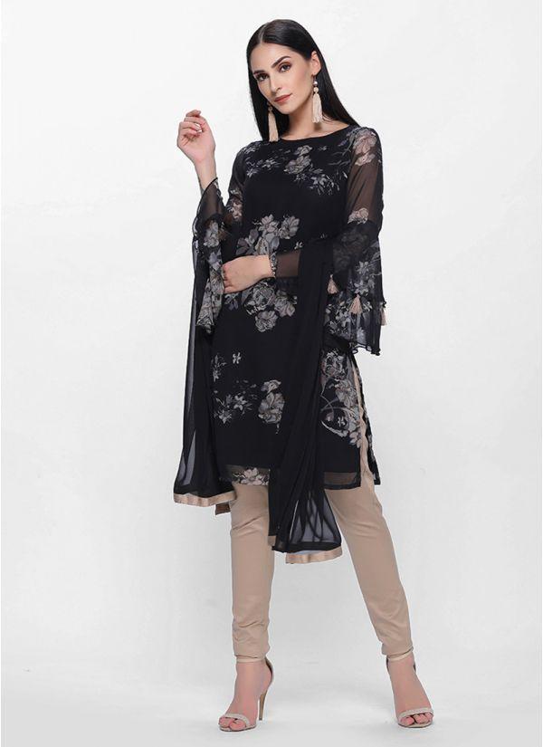 Black Printed Georgette Suit Set