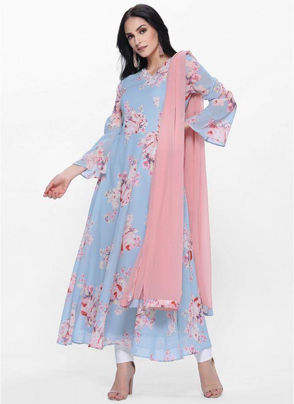 Blue Printed Bias Cut Dress