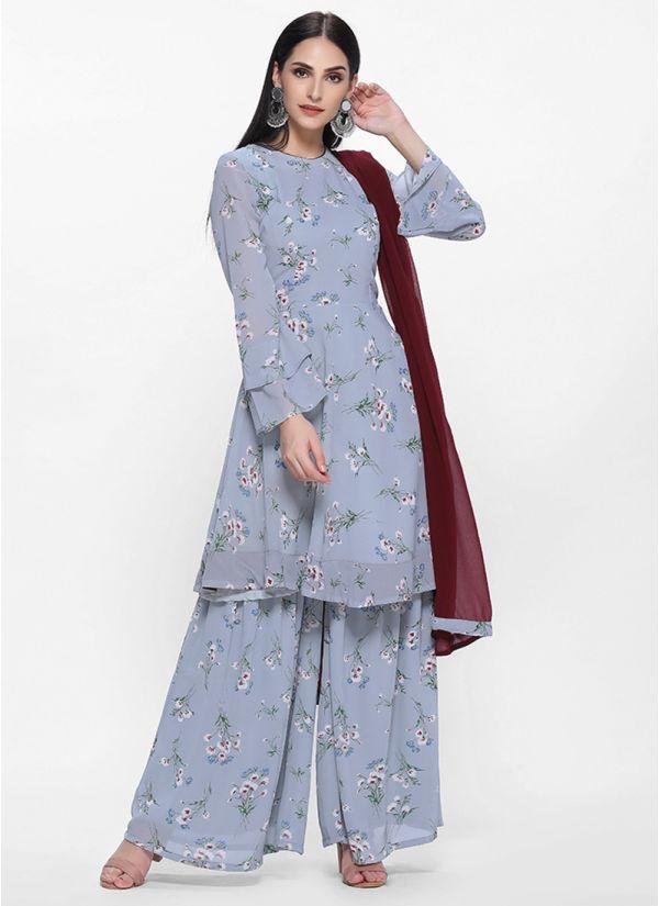 Grey Georgette Floral  Printed Bias Cut Dress
