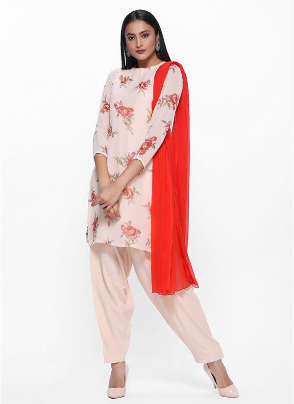 Cream Printed Georgette Salwar Kameez