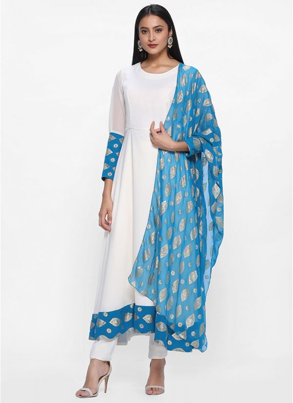 Bias Cut Dress with Block Printed Dupatta