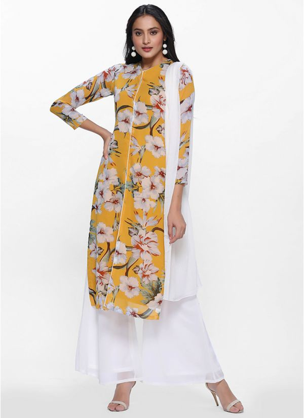 Yellow Printed Georgette Palazzo Set