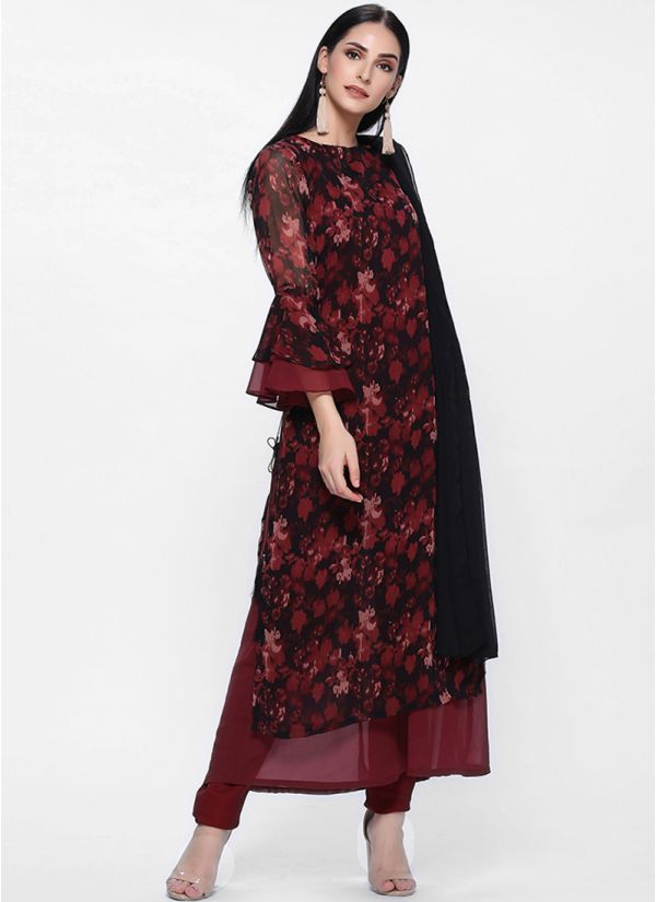 Maroon A line Printed  Dress