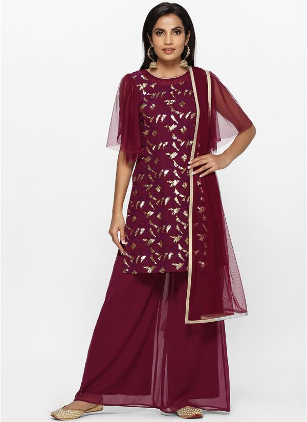 Plum Georgette Embroidered Palazzo Set