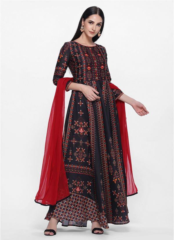 Black Traditional Printed Bias Cut Dress