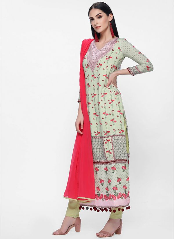 Green Placement Print Straight Cut Trouser Set