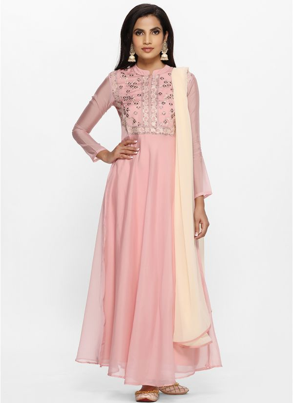 Pink Tissue Embroidered Yoke Bias Cut Dress