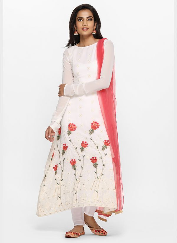 White Georgette Chikankari A line Suit Set