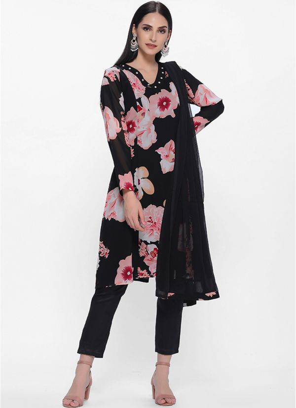 Black Floral Printed Tent Style Trouser Set