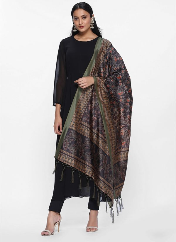 Black Silk Digital Printed Dupatta set
