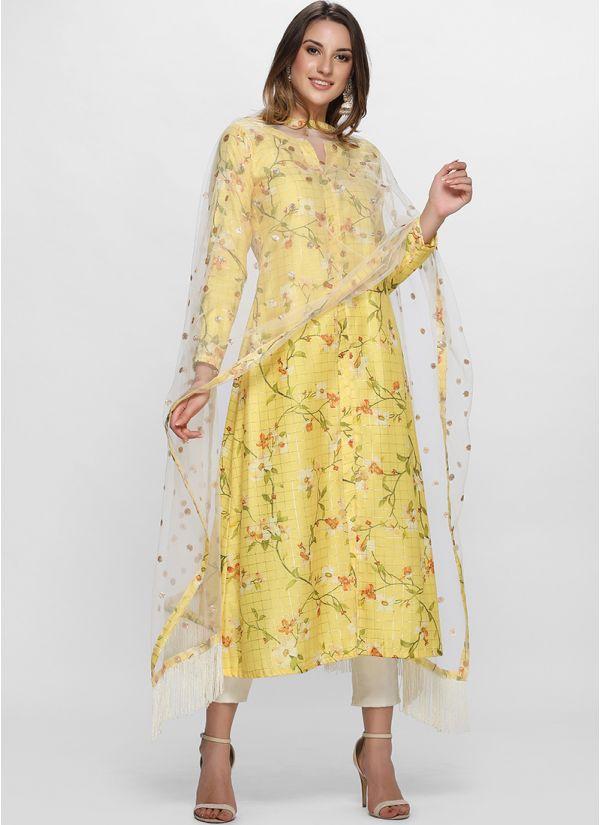 Sunshine Yellow Floral Printed Straight Kurta Set