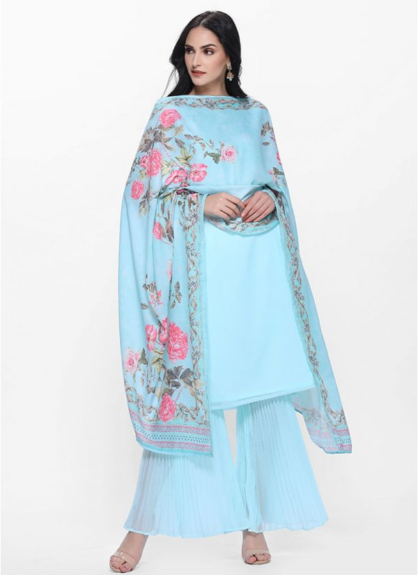 Blue Pleated Gharara Set with Printed Dupatta