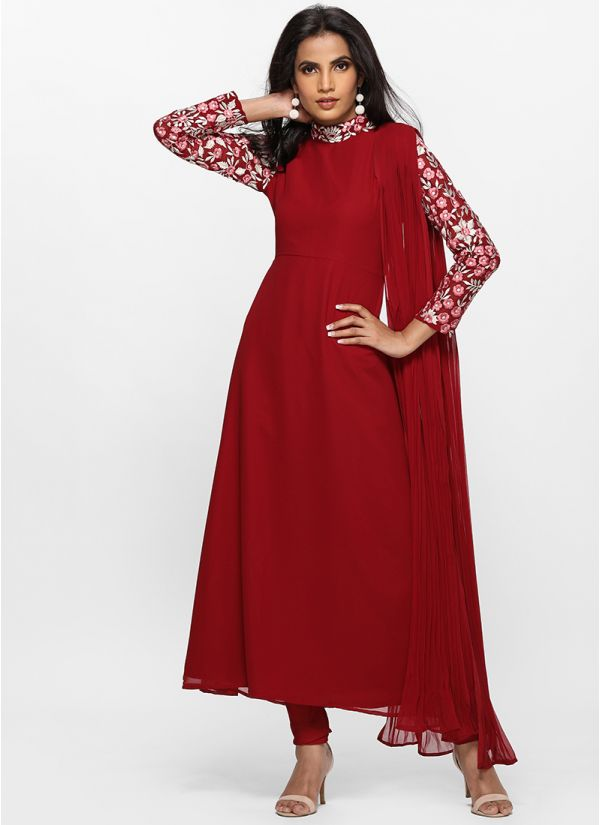 Gorgeous Maroon Attached Dupatta Bias Cut Dress
