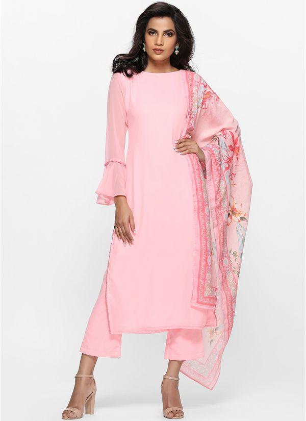 Pink Printed Dupatta Kurta Set