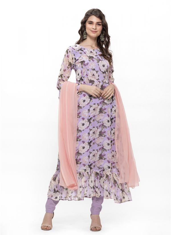 Lilac Floral Print Frill Flow Dress