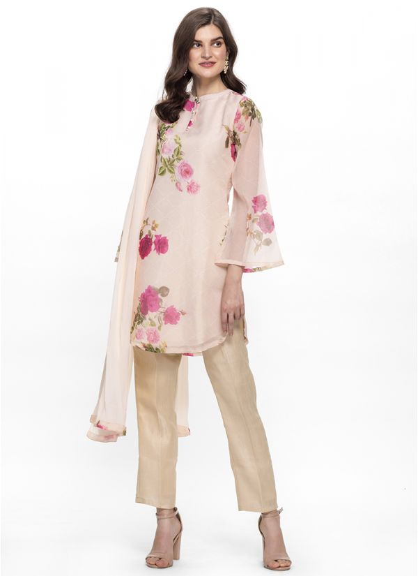 Peach Floral Print Trouser Set