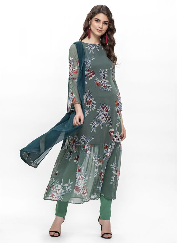 Green Floral Print A-Line Dress Set