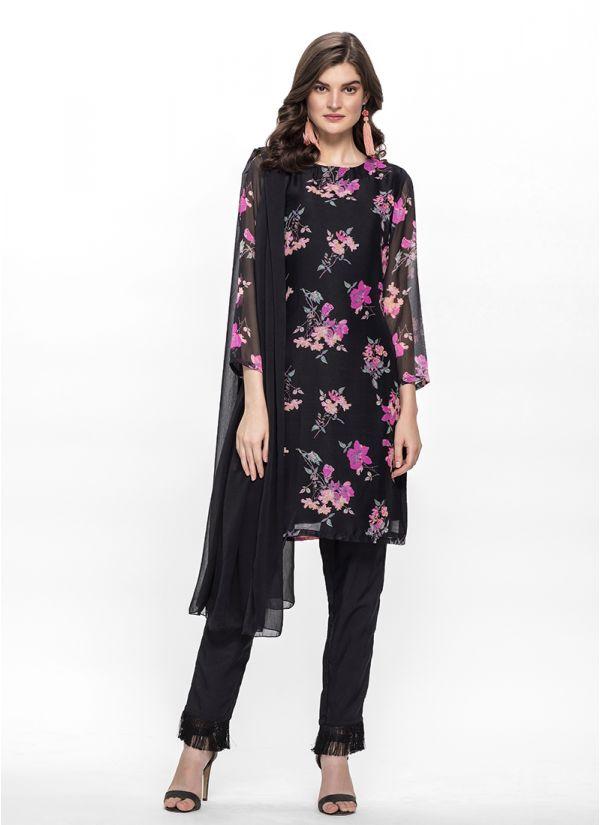 Black Floral Print Trouser Set