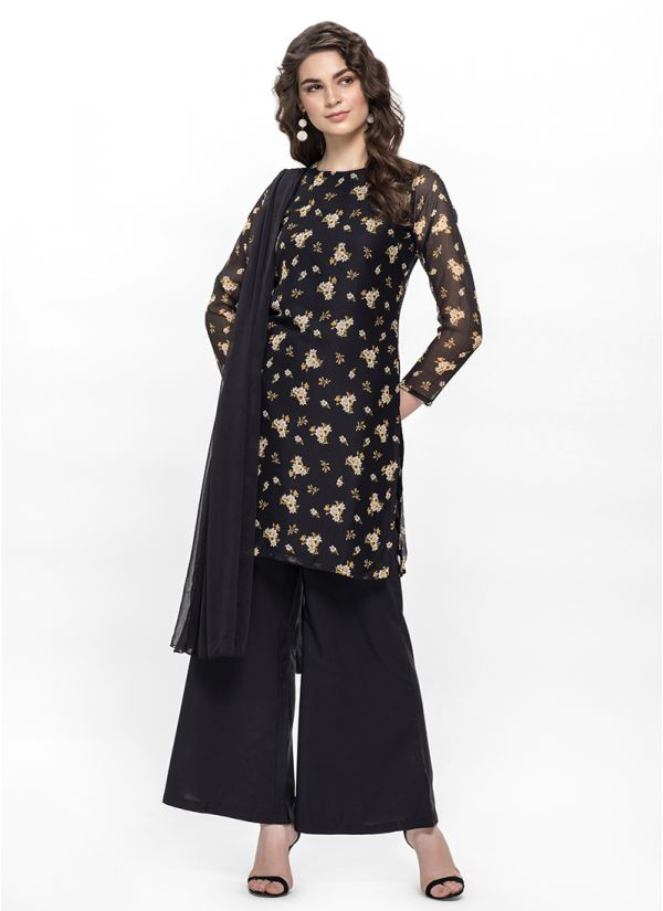 Ditsy Floral Black Palazzo Suit