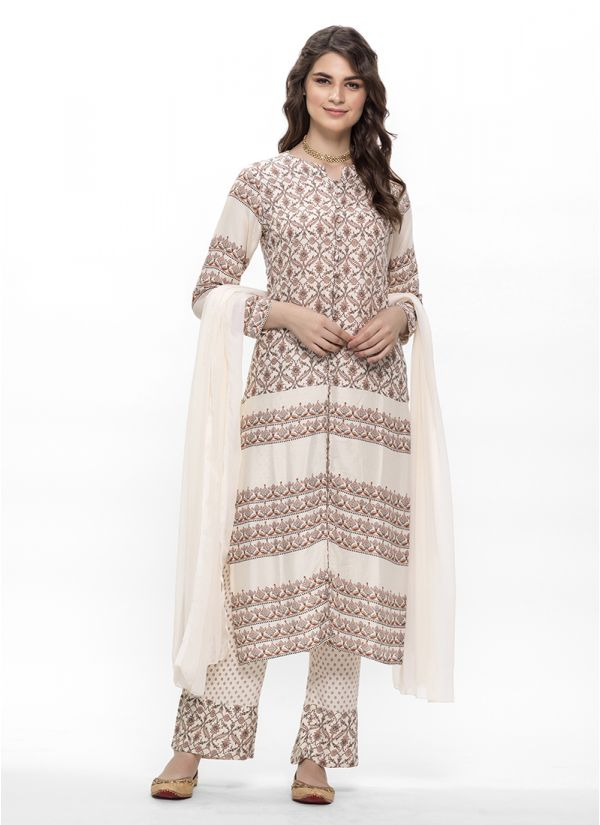 Traditional Print Cream Cotton Suit