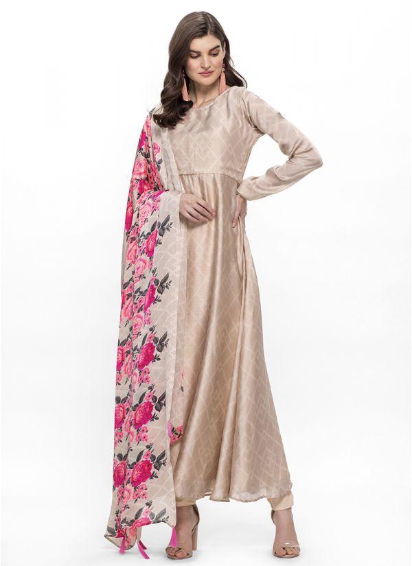 Beige Digital Floral Print Dupatta Suit