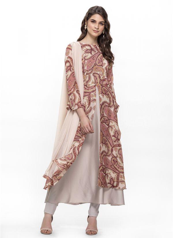Cream Paisley Print Flow Slit Dress Set