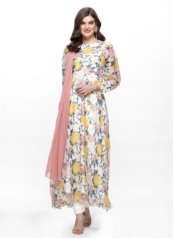 Ivory Contrast Floral Flow Dress Set