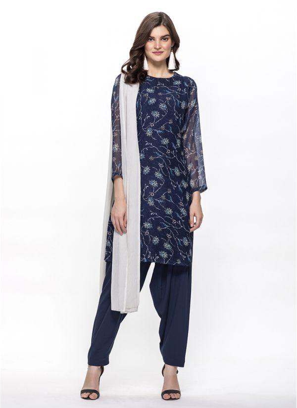 Navy Blue Floral Print Salwar Suit