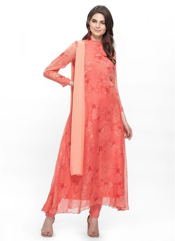 Tonal Pink Print  Flow Dress Set