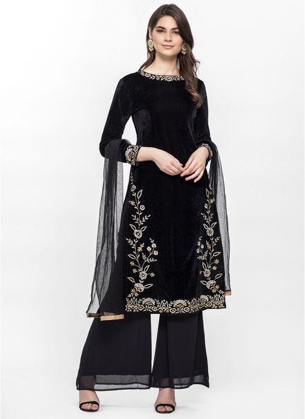Black Velvet Palazzo Suit
