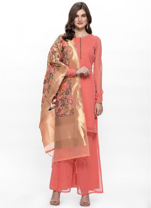 Peach Silk Jacquard Dupatta Suit Set