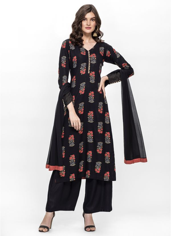 Black Contrast Print Straight Suit