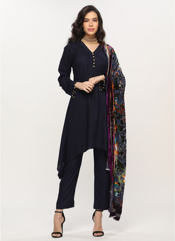 Petite Luxe Navy Blue Palachi Shawl Suit