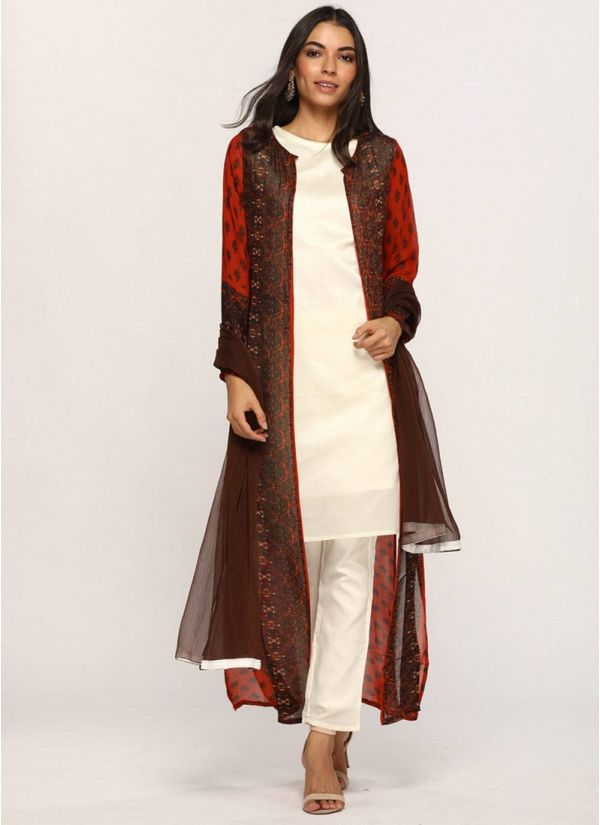 Rust Printed Jacket Suit Set