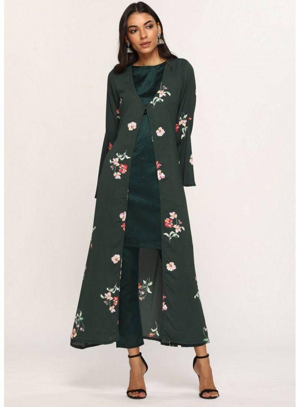 Dark Green Floral Printed Jacket Suit