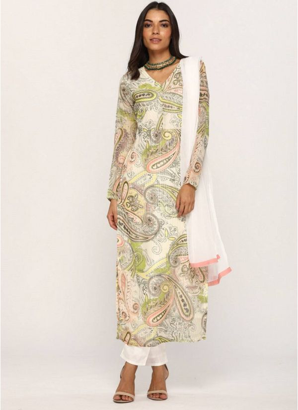 Off White Floral Printed Suit Set