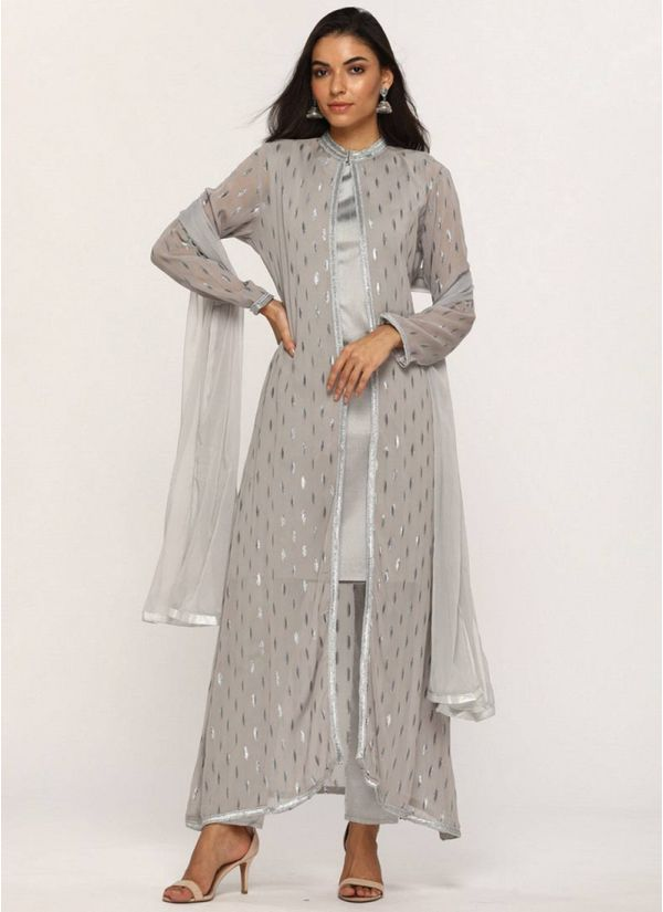 Grey Jacquard Jacket Suit Set