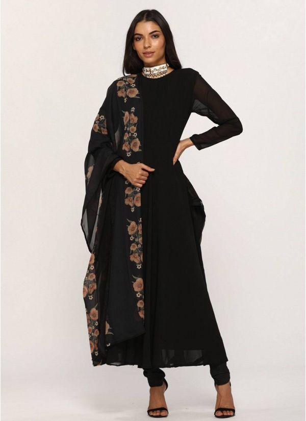 Black Georgette Flow Dress