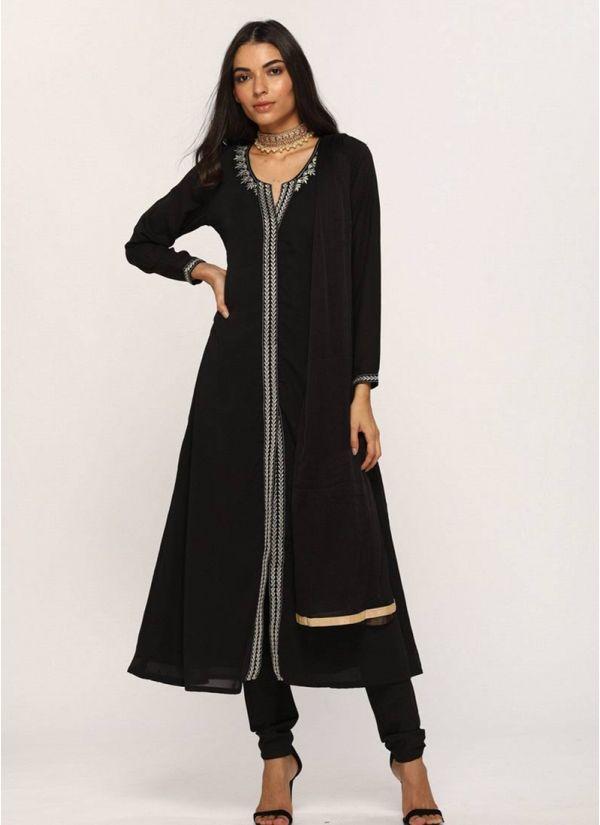 Black Embroidered A-line Suit Set