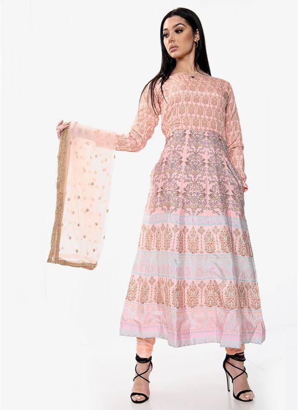 Peach Floral Printed Kalidaar Suit Set