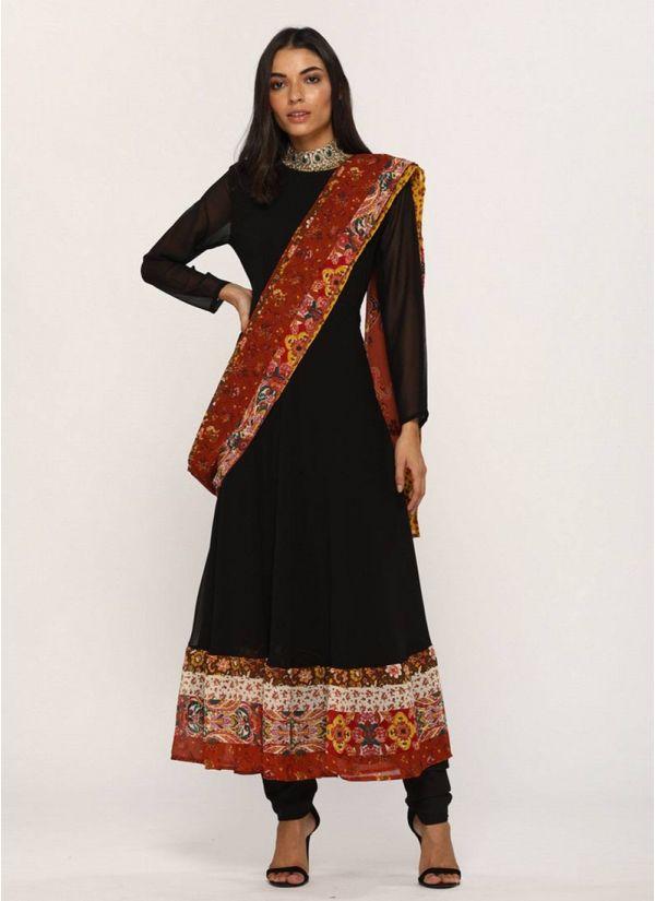 Black Georgette Attached Printed Dupatta Dress