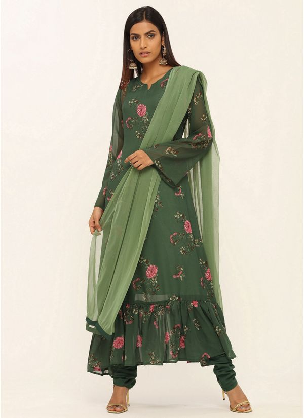 Dark Green A-line Georgette Suit