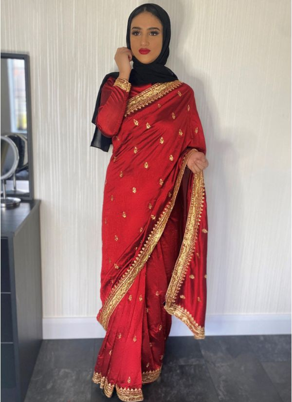 Maroon Silk Embroidery Saree